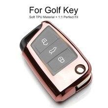 Soft TPU Car Key Cover Case For VW Golf 4 5 6 7 GTI MK7 MK6 Plus Polo Passat b6 t5 Sharan Jetta Key Chain Ring Shell Accessories