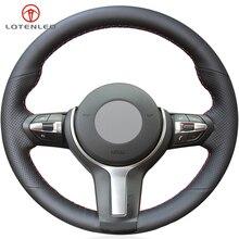 LQTENLEO-couverture de volant de voiture   En cuir noir, pour BMW (M Sport) série 1 F20 F21 M135i M140i M235i M240i X1 F48 X2 F39 X3 F25
