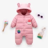 2021 autumn winter infant baby clothing new boys thick down cotton jumpsuit girls long sleeved hooded romper 3 24 month bodysuit
