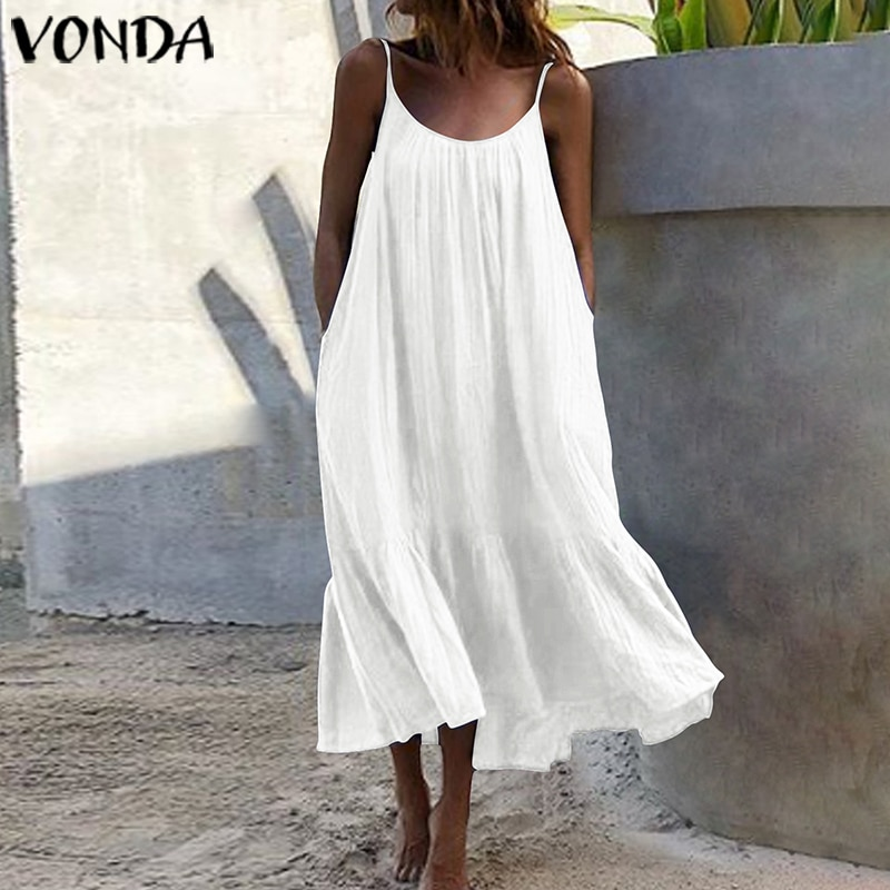 bohemian women maxi long dress 2019 vonda summer o neck long sleeve pattern print dresses casual loose party vestidos plus size Bohemian Sundres Women Dress 2021 VONDA Summer Sleeveless Maxi Long Dress Beach Holiday Casual Loose Robe Plus Size Vestidos