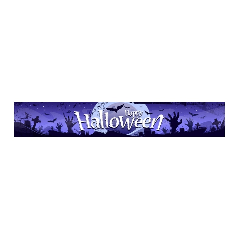Happy Halloween Ghost Hand Print Hanging Banner Sign Party Backdrop Pull Flag Background for Indoor Outdoor Decor
