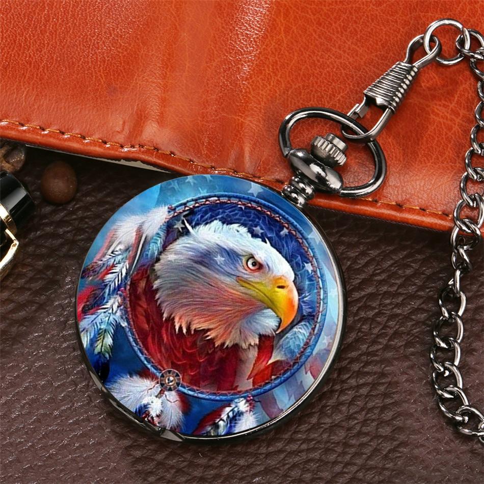 Мужские и женские кварцевые часы Ele с флагом США, дизайн Летающий орел, карманные часы в стиле панк с черной цепочкой и подвеской, подарки для...