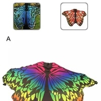 celebrating festival gradient color butterfly wing cape cute novelty print scarves for outfit