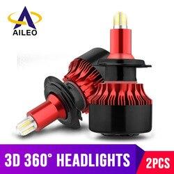 Lâmpada para farol automotivo h7, led, 4 lados, 9005, hb3, led, h11, h8, h1, hb4, 9006, luzes para carro, 14000lm, 6000k farol de led automóveis 12v