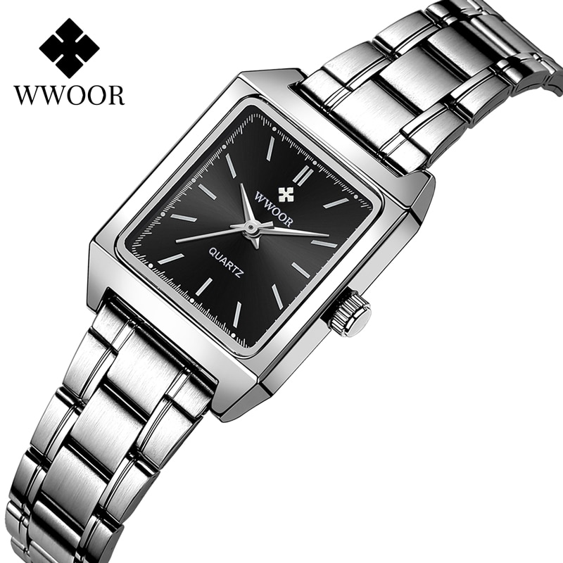 WWOOR Casual Square Women Watches Ultra Thin Small Female Quartz Watch Full Stainless Steel Ladies Wrist Waches Relogio Feminino enlarge