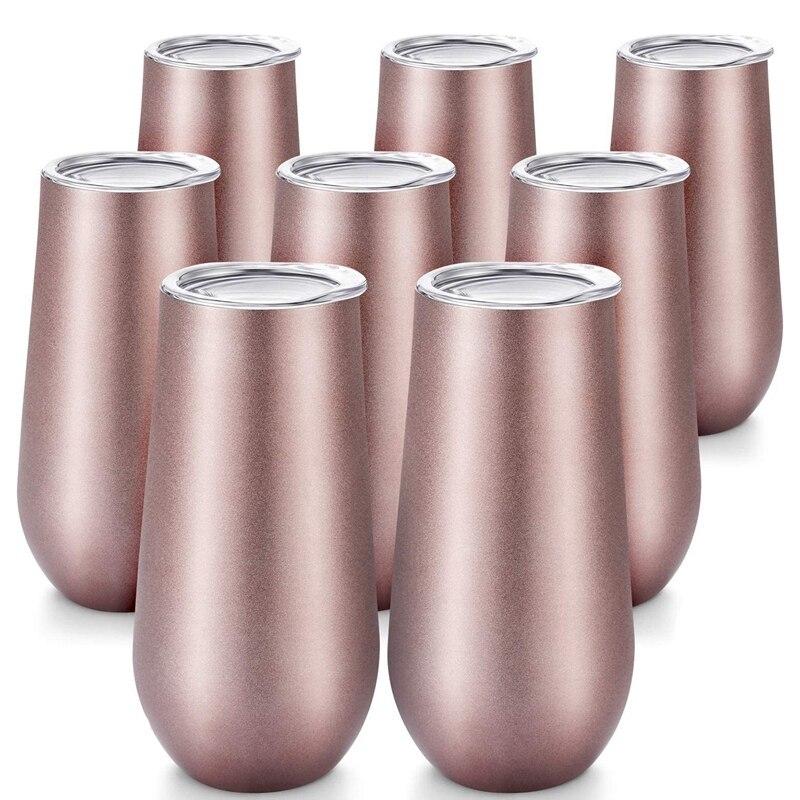 8 حزم ستيمليس مزامير الشمبانيا كأس نبيذ ، 6 OZ كأس نبيذ معزول مزدوج مع أغطية أكواب كوكتيل غير قابلة للكسر
