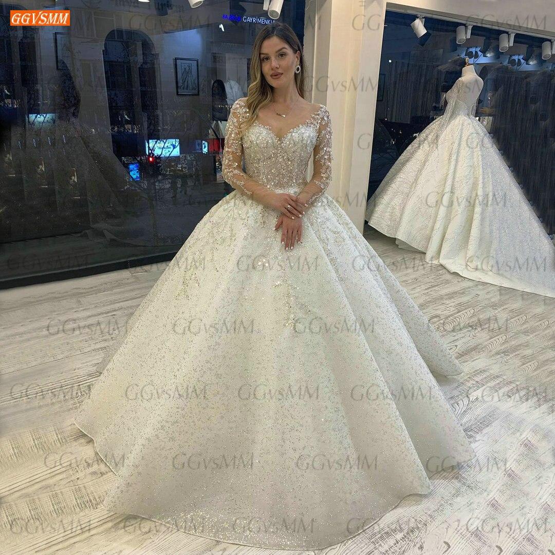 سباركلي كريستال الزفاف فستان بأكمام طويلة 2021 Vestido De Noiva الدانتيل حتى المسابقة الديكور زي العرائس مخصص Hochzeitskleid