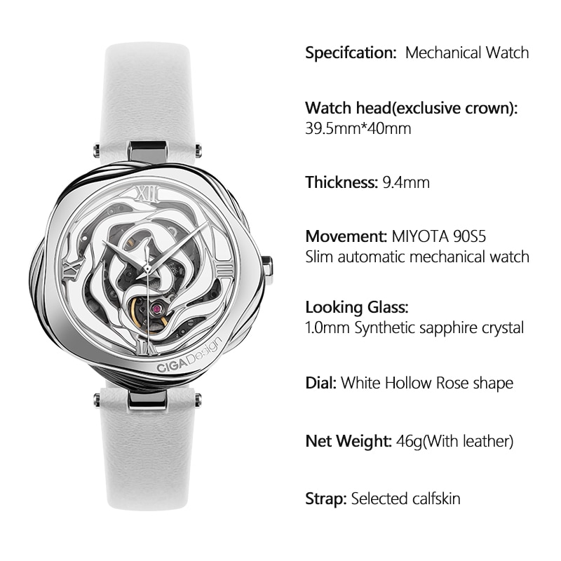 CIGA DESIGN Watches for Women Watch With Rose Necklace Ladies Watch Luxury Watches Quartz Wristwatches Mechanical Japan Movement enlarge