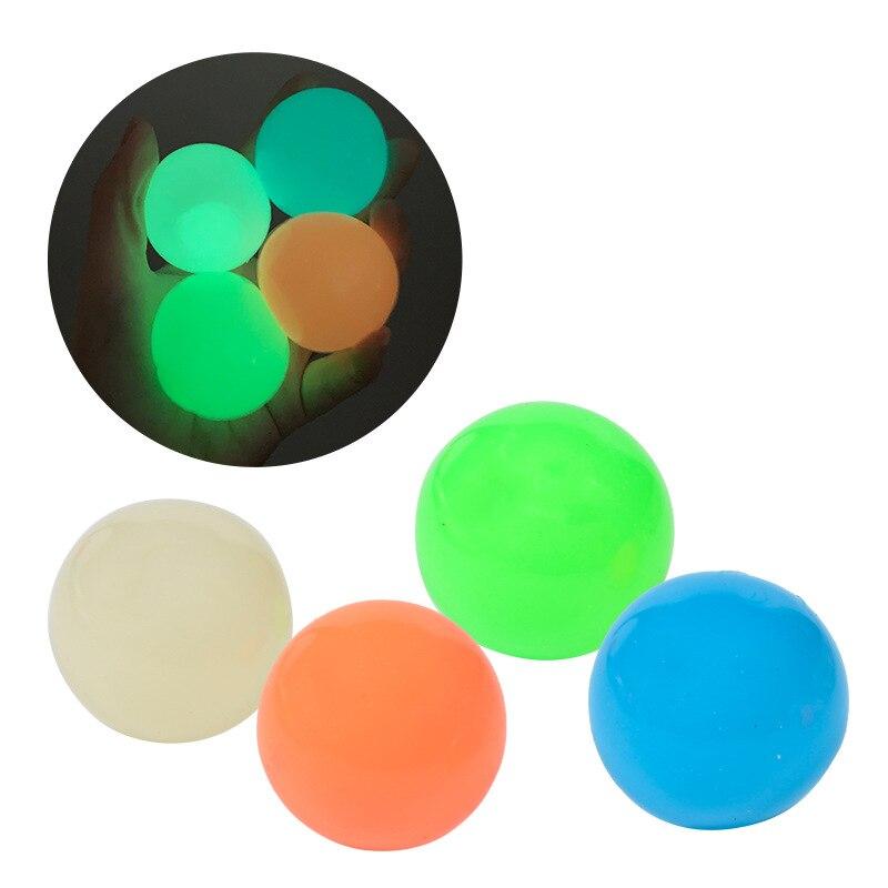 Детский липкий настенный мяч, 4 шт., блестящие глобусы, игрушка, липкий Рождественский мяч, мяч для стресса, декомпрессия, новинка, подарок