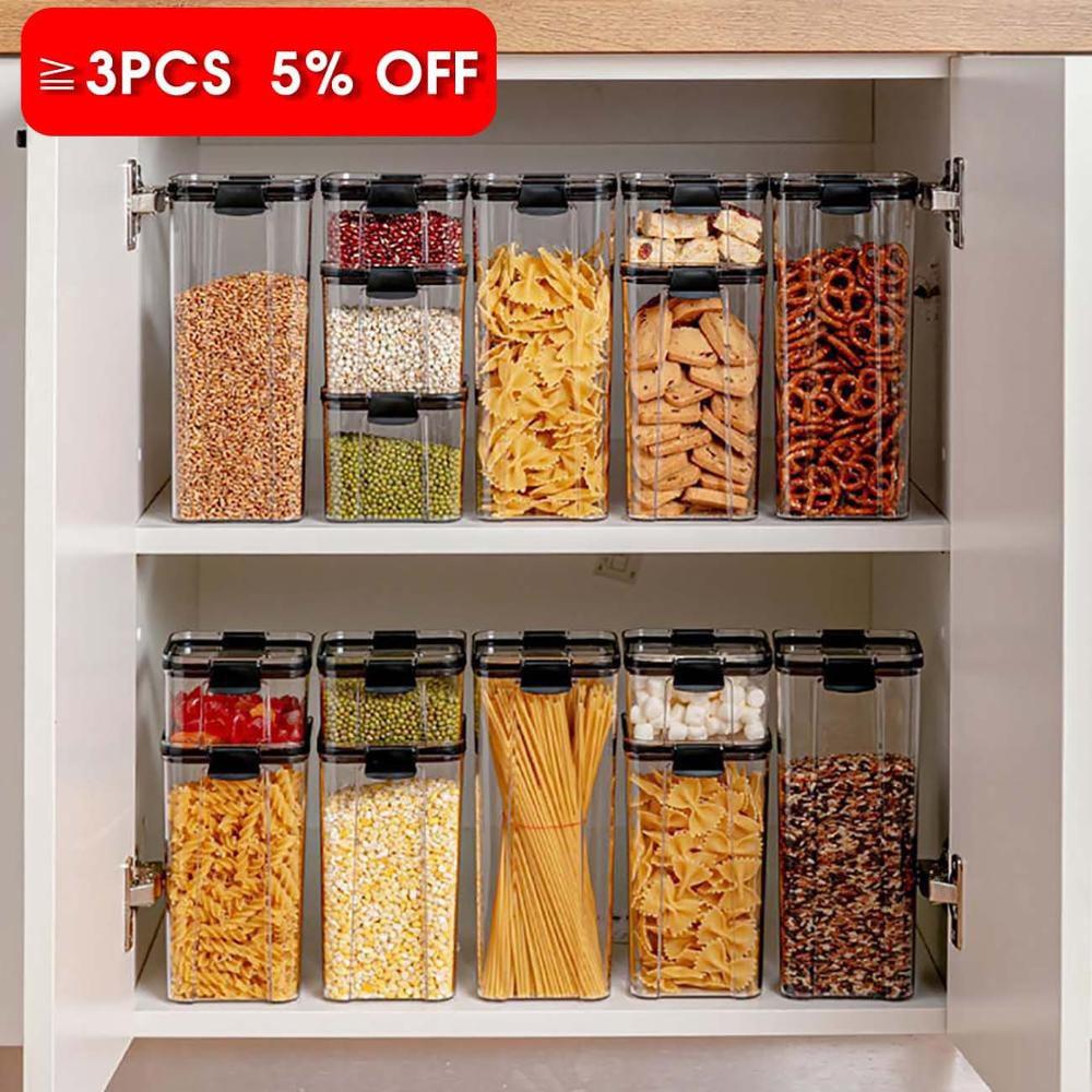 700/1300/1800 ml maisto laikymo konteineris plastikinis virtuvinis šaldytuvas, makaronų dėžutė, daugiakraštis sandėliavimo bakas, skaidrios sandarios skardinės