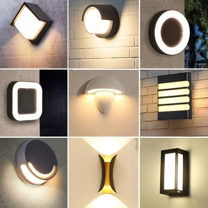 12W LED Wall Lamp Outdoor Garden Wall Porch Lamp Villa Balcony Corridor Aisle Fence Wall Light Bedroom Living Room Porch Lamps