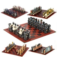 horror theme chess resin material hand painted 32 pieces with embossed leather chess board gift board games can choose from many