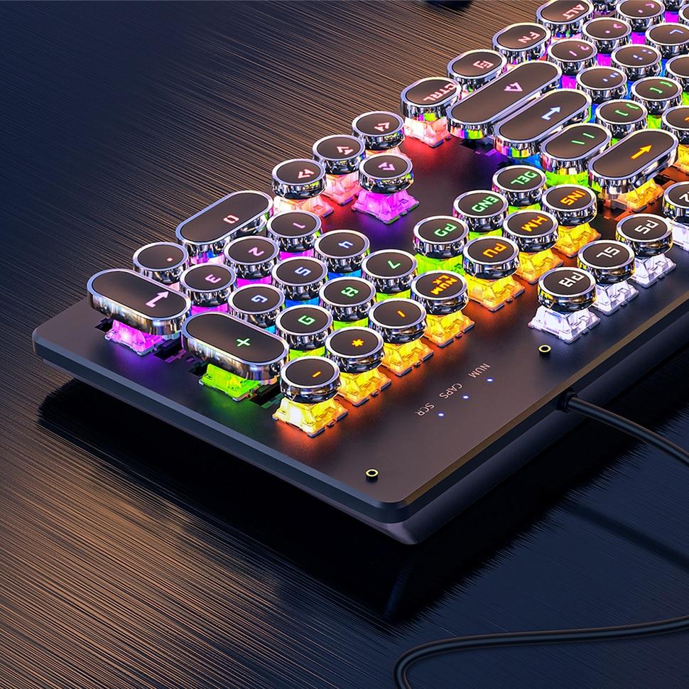 REDSTORM لوحة المفاتيح الميكانيكية لوحة معدنية مستديرة الرجعية Keycap 104 مفاتيح الخلفية السلكية الألعاب لوحة المفاتيح للكمبيوتر المحمول