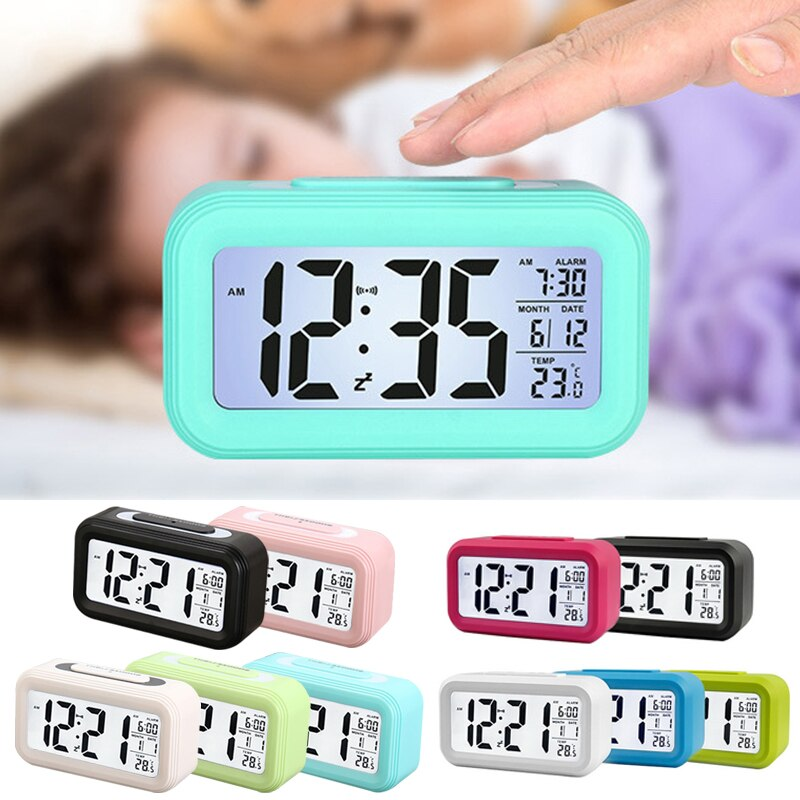 Светодиодный Будильник, цифровой будильник, подсветка, дисплей с календарем, функция повтора, часы для дома, офиса, путешествий