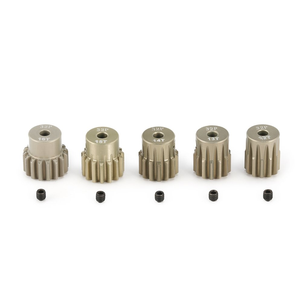 Hot 5Pcs 32DP 3.175mm 12T 13T 14T 15T 16T Metal Pinion Motor Gear Set for 1/10 RC Car Truck Brushed