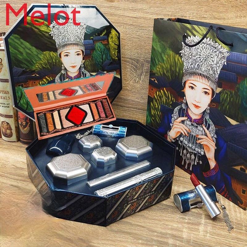 مجموعة ماكياج هدية صندوق القلب قفل طقم أحمر الشفاه تنقش مستحضرات التجميل مجموعة كاملة