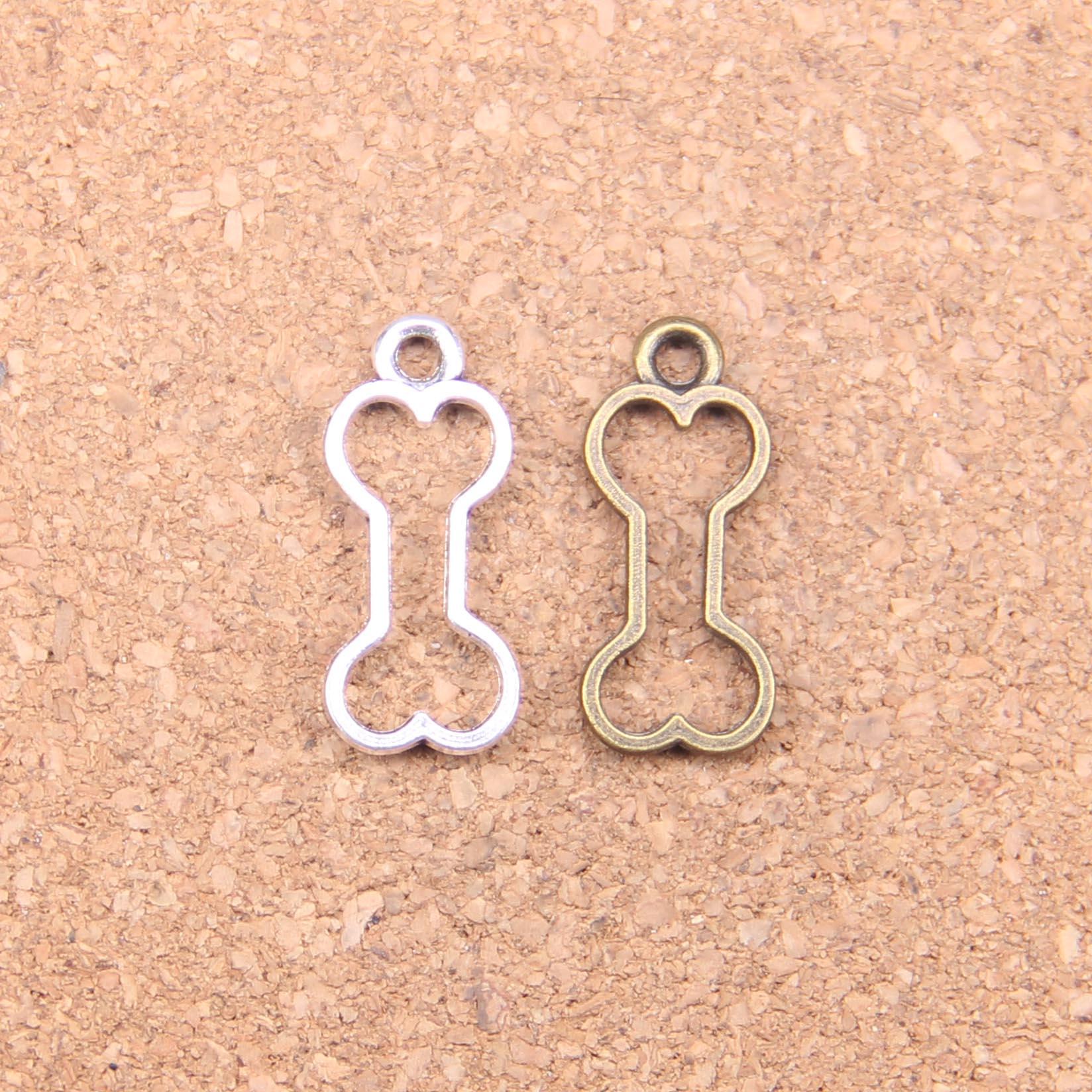 145 pièces breloques creux chien os 25x11mm pendentifs antiques, bijoux en argent tibétain Vintage, bricolage pour bracelet collier