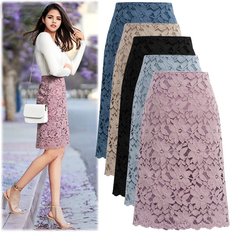 2021 Summer High Waist Lace Midi Skirt Women's Spring Slim Fit Office Ladies Hip Skirt Black Casual Lace Wavy Edge Midi Skirt