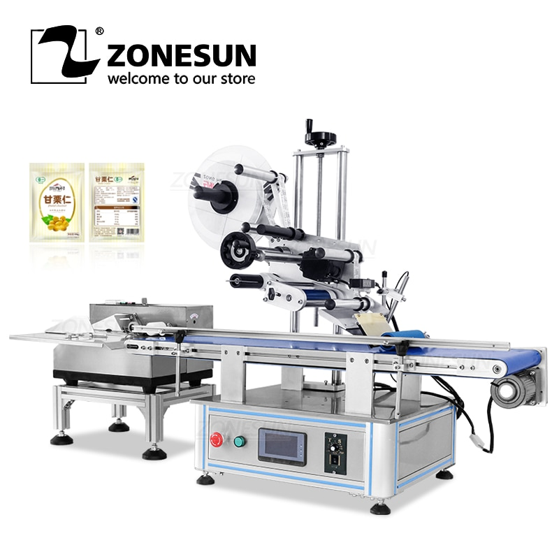 ZONESUN Desktop Automatic Flat Paper Pouch Plastic Bag Separating Paging and Labeling Machine Label Sticker