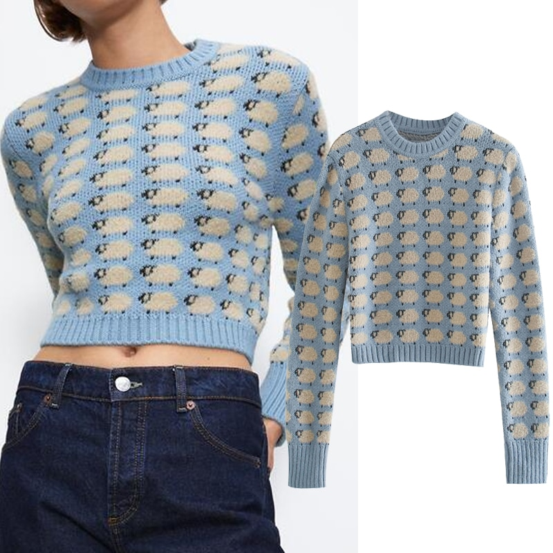 ZA 2020 new Women Autumn winter Little sheep print knitted sweater O-Neck Long sleeve sweater pullover Casual Knitted top