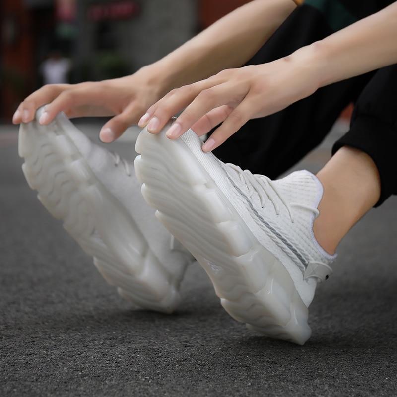 Moda 2020, Zapatos informales para Hombre, zapatillas De deporte De plataforma a la moda De malla ligera para otoño/primavera, calzado De goma blanco, Zapatos De Hombre