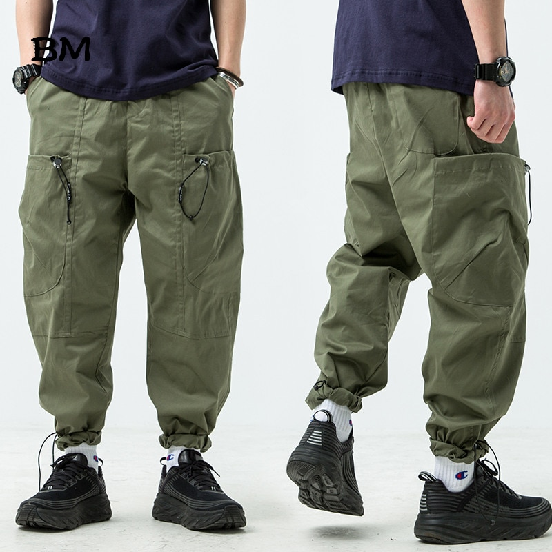 Streetwear Fashions Joggers pantalones de hip hop hombres Harajuku pantalones Cargo estilo coreano táctico Harem pantalones hombres negro overoles