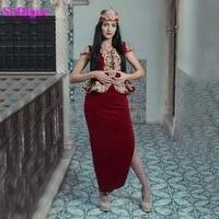 sodigne evening dresses algeria karakou burgundy prom formal dresses gold lace embroidery slit arabic evening gowns peplum