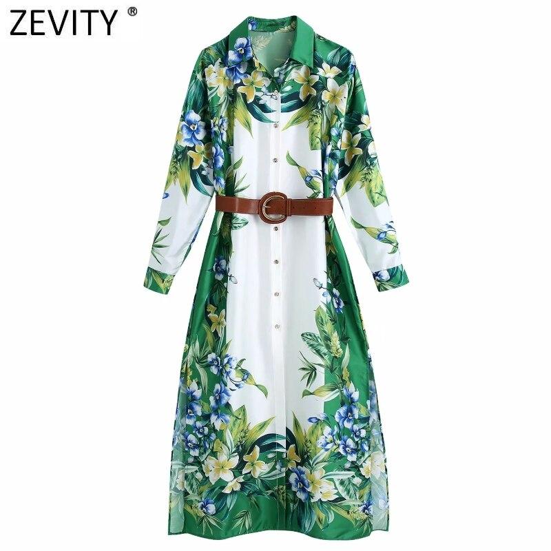 Zevity-فستان قميص نسائي من الساتان ، عتيق ، طباعة الأزهار الخضراء ، غير رسمي ، نحيف ، أحزمة جانبية ، كيمونو ، DS8116 ، 2021