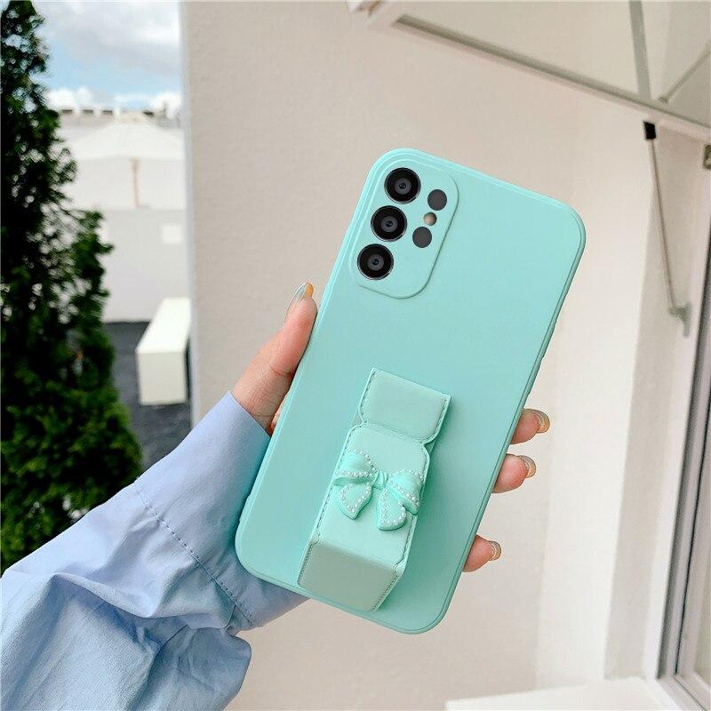 [해외] 럭셔리 3D 진주 보우 매듭 자기 스탠드 전화 케이스 삼성 GalaxyA01 A03S A02S A82 A32 A22 Shockproof 보호 소프트 커버