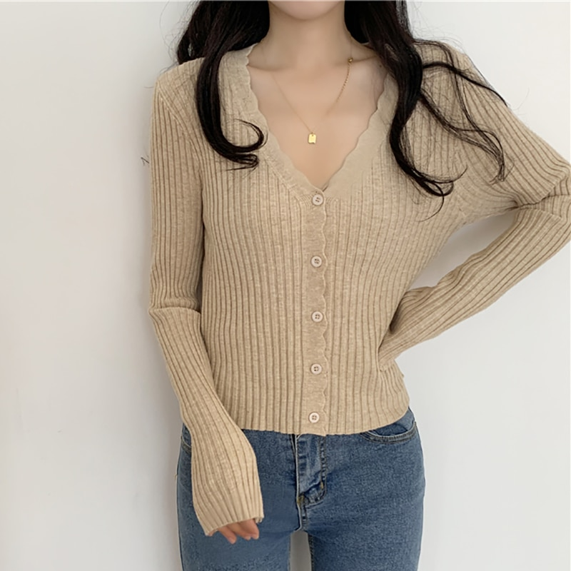 Spring Autumn New Korean Casual Long Sleeve Sweaters Basic All Match Femme Cardigan Jersey Mujer Top Woman Knitted Shirt