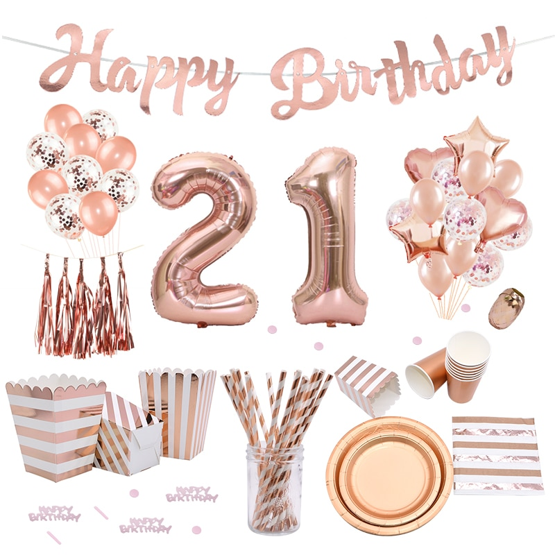 Rose Gold 21st decoración de fiesta de cumpleaños globos de feliz cumpleaños Banner cajas de palomitas de maíz guirnalda para 21 años de edad suministros de fiesta