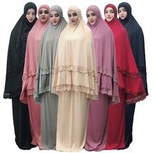2 pièces Hijab robe femmes musulmanes prière Khimar Jilbab arabe aérien Abaya vêtements Ramadan Oman costume culte Service moyen-orient