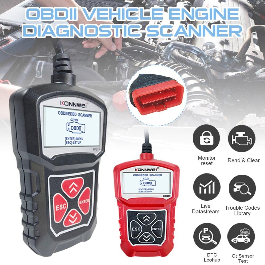 Автомобильный диагностический сканер KONNWEI KW309 OBDII, сканер OBDII/2 кода, сканер EOBD на 7 языках, Автомобильный сканер OBDII