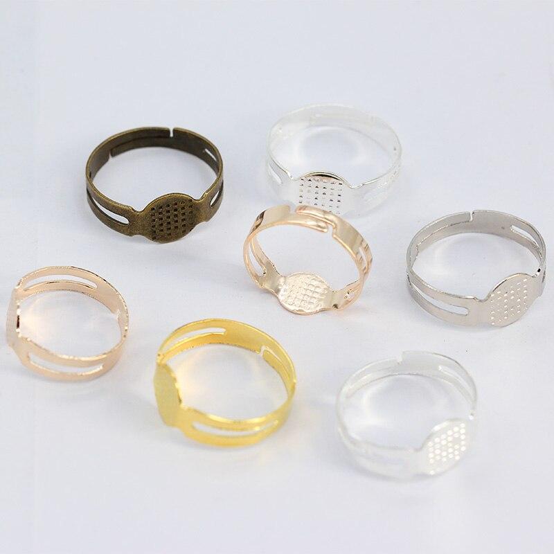 50p серебряное позолоченное бронзовое регулируемое пустое кольцо основание с 7/8 мм плоской прокладкой DIY дети клей на Кабошон Кольца результаты