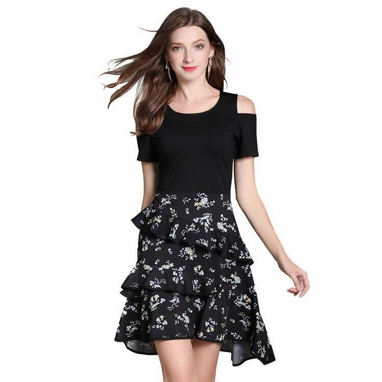 Europa y América vestido de mujer de gran tamaño verano 2019 falda Casual conjunto Roogo Can Such amor falda Formal de mujer