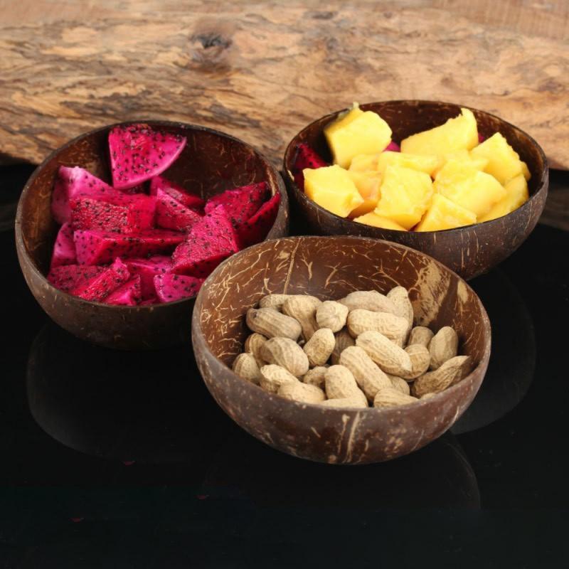 Natural Coconut Bowl Fruit Decoration Fruit  Salad Noodle Rice Fruit Crafts Creative Decoration Coconut Shell Bowl Rice Bowl