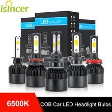 2 шт. isincher H4 (Подол короче спереди и длиннее сзади) луч светодиодный Автомобильный светодиодный головной светильник лампы H7 H11 H1 HB3 9005 HB4 9006 72W фары для 8000LM авто фары 6500K светодиодный автомобильный светильник