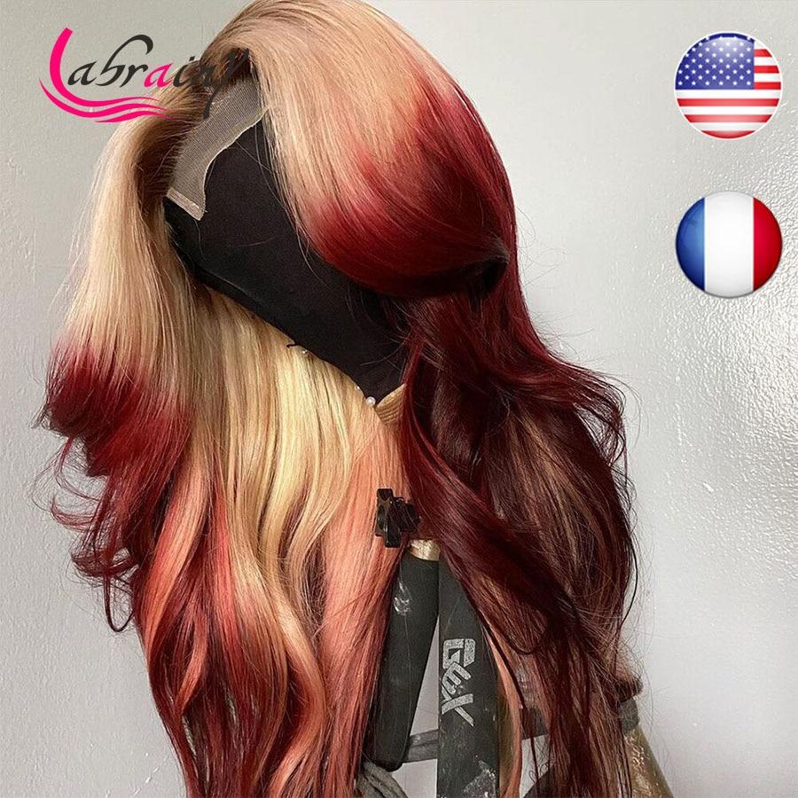 Парики HD прозрачные с эффектом омбре 613 блонд 99J телесные волнистые на сетке фронтальные парики красные цветные розовые предварительно выщи...