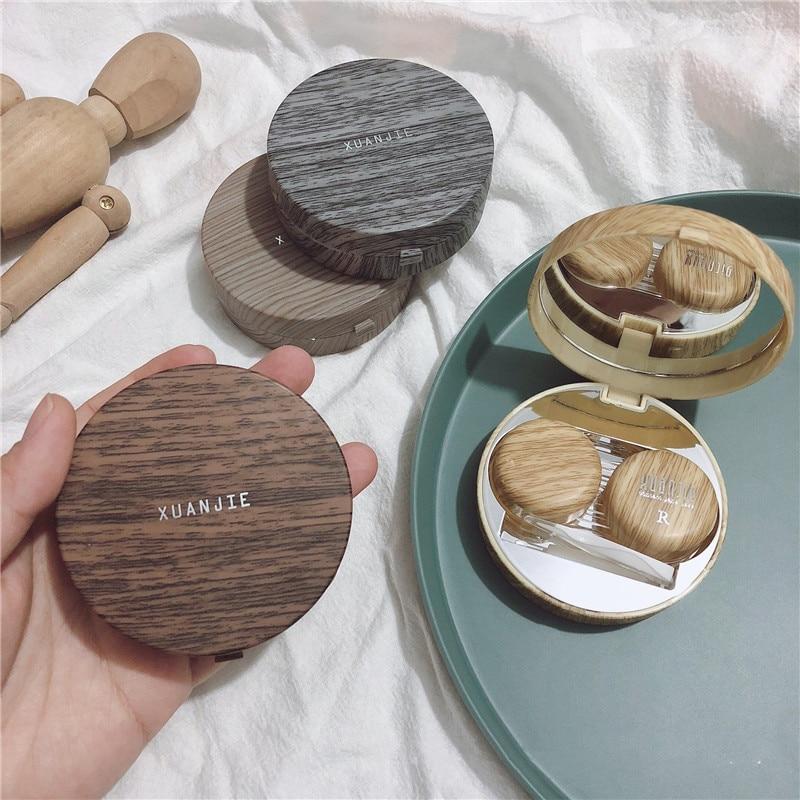 Funda de lente de contacto redonda de grano de madera de imitación con caja de almacenamiento de espejo caja de lentes de regalo caja de contactos de ojo de dibujos animados lindo