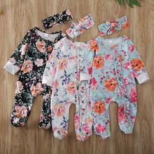 2Pcs Newborn Baby Girls 0-6M Floral Romper Jumpsuit Bodysuit Headband Clothes Outfits
