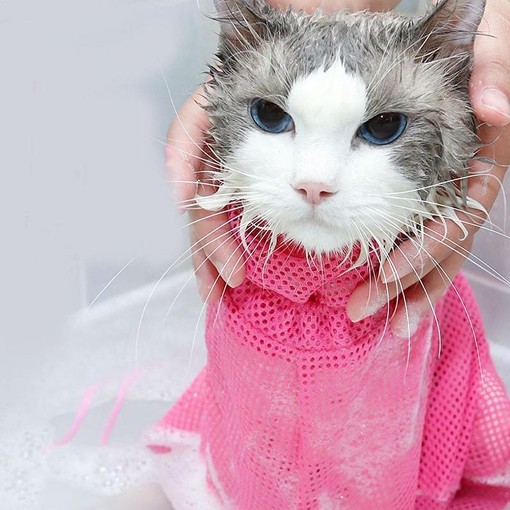 Bolsa de malla para gatos, para ducha, para cortar uñas, producto de lavado, medicina, bolsa para gatos, para rascar, bolsa para mascotas, lavable, adjust B6Q9