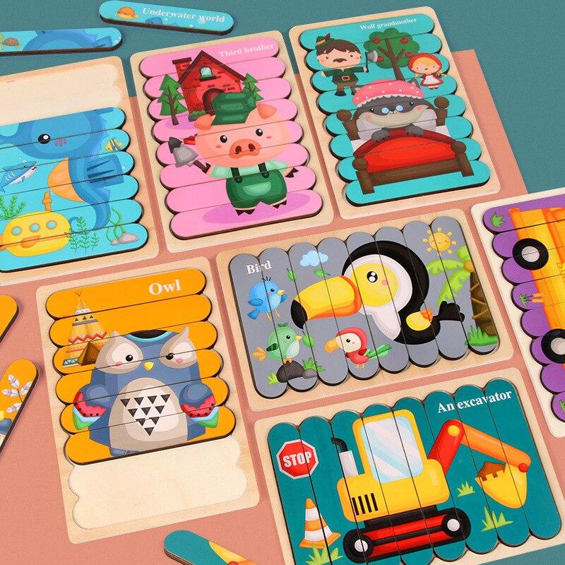 Vokmascot Детские двухсторонние полосы 3D головоломки игрушки деревянные материалы Монтессори обучающие игрушки для детей Детские обучающие иг...