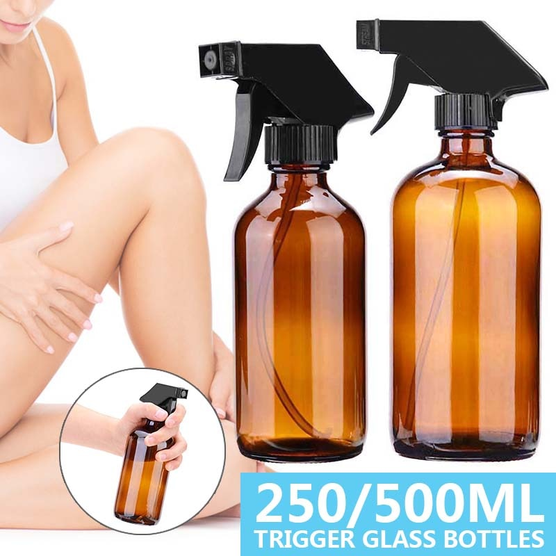250mL/500ML Amber Glass Bottles  With Black Trigger For Mist Stream Aromatherapy Essential Oil Spray