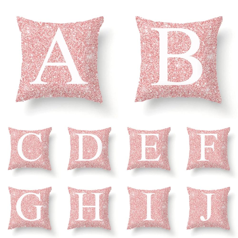 1 زوج من الوردي إلكتروني وسادة غطاء 45x45 سنتيمتر غرفة الإنجليزية الأبجدية للمنزل السلع المخدة البوليستر زهرة