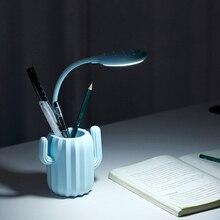 Multi Use Cactus Pen Storage Holder with LED Folding Desk Lamp 1200mAh USB Charging Touch Switch Table Lights Desktop Organizer