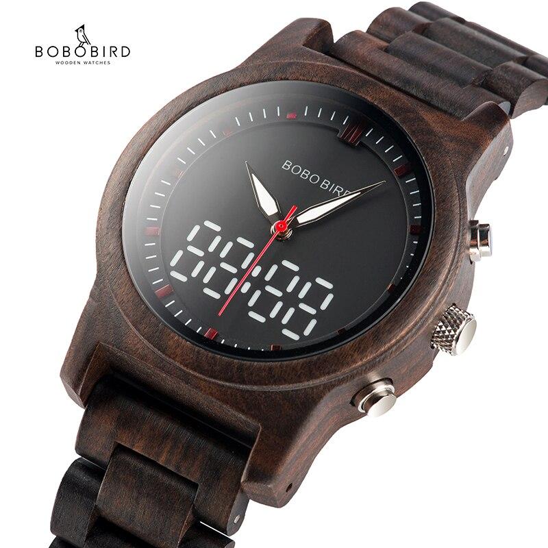 BOBO BIRD-ساعة يد خشبية فاخرة للرجال والنساء ، كوارتز ، شاشة مزدوجة ، علبة هدايا