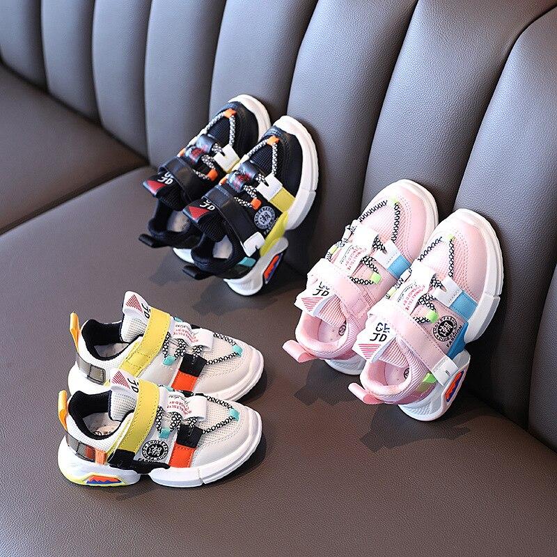 جديد الخريف حذاء للأطفال شبكة الفتيات الفتيان أحذية رياضية الفيلكرو تنفس الأطفال تنس موضة طفل رضيع الأحذية 21-30
