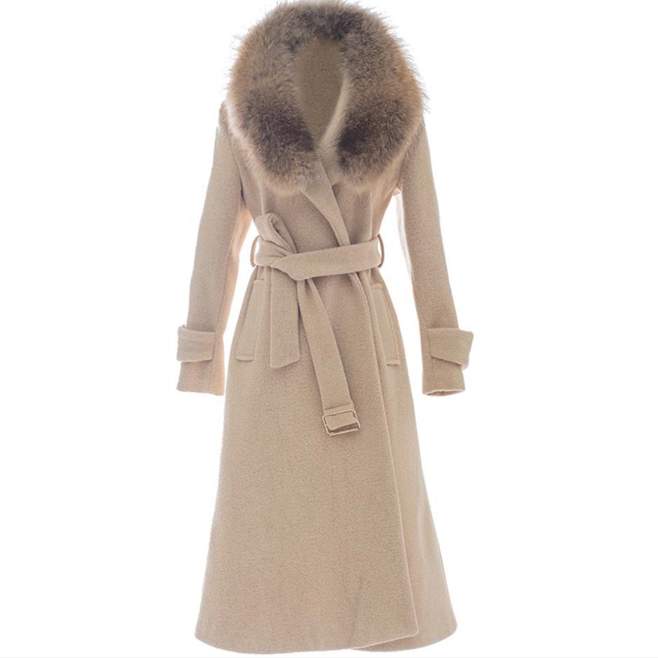 النساء معطف الصوف الشتاء مقنعين ريال الراكون كبير الفراء طوق معطف فضفاض رشاقته الدافئة x-طويلة