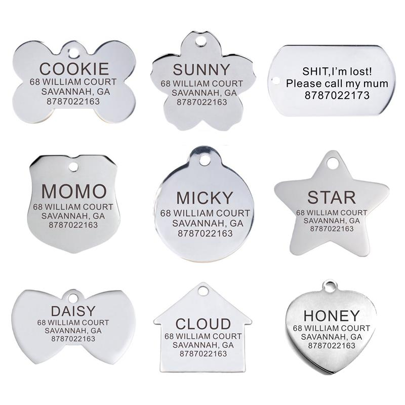 personalized pet id tag dog cat nameplate aluminum collar accessories free customized engraving tags Personalized Pet ID Tag Engraved Stainless Steel Name Tags Collar Accessory Pendant Customized Free Engraving Dog Cat Nameplate
