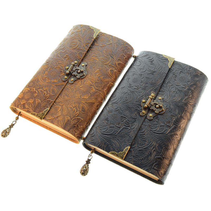 Embossed Pattern Soft Leather Travel Notebook with lock Key Diary Notepad Kraft